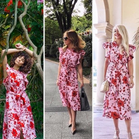 f26c582c984 Last one Zara floral print linen tunic midi dress